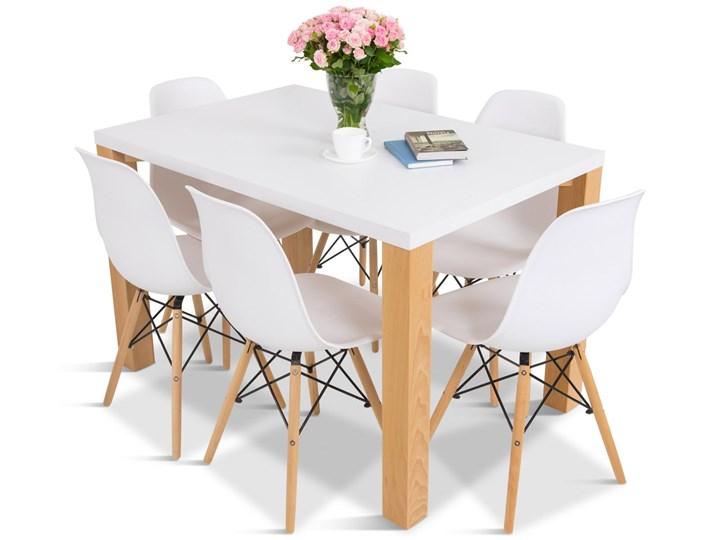Zestaw dla 6 osób stół i krzesła białe Olof E 6 Meblobranie