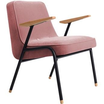 Fotel 366 Metal Velvet Powder Pink, proj. J. Chierowski
