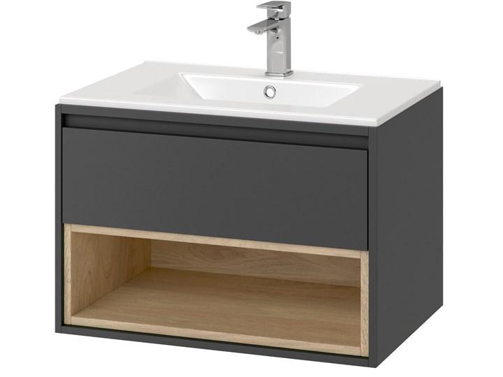 Szafka z umywalką 60 cm Excellent TUTO MLEX.0101.600.GRBL + CEEX.3617.600.WH szara/dąb