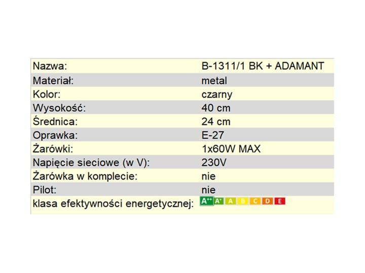 Lampka nocna KARO B-1311/1 BK+ ADAMANT Lampa nocna Wysokość 40 cm Kategoria Lampy stołowe