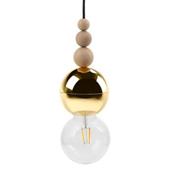 LOFT BALA ZŁOTA lampa wisząca 1 x 60W E27 na kablu nowoczesna minimalistyczna czarna złota zwis koraliki KOLOROWE KABLE LBG15