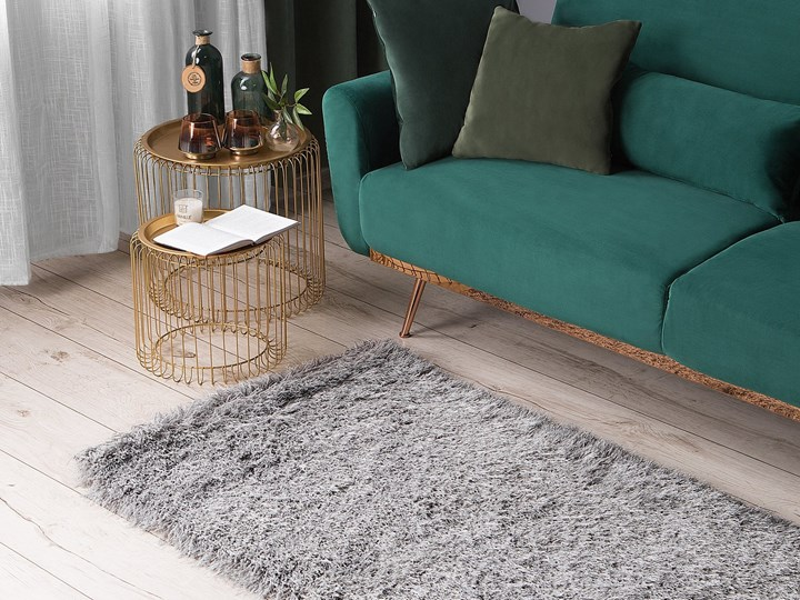 Dywan shaggy szary 80 x 150 cm puszysty włochacz Prostokątny Poliester Dywany 80x150 cm Bawełna Pomieszczenie Sypialnia