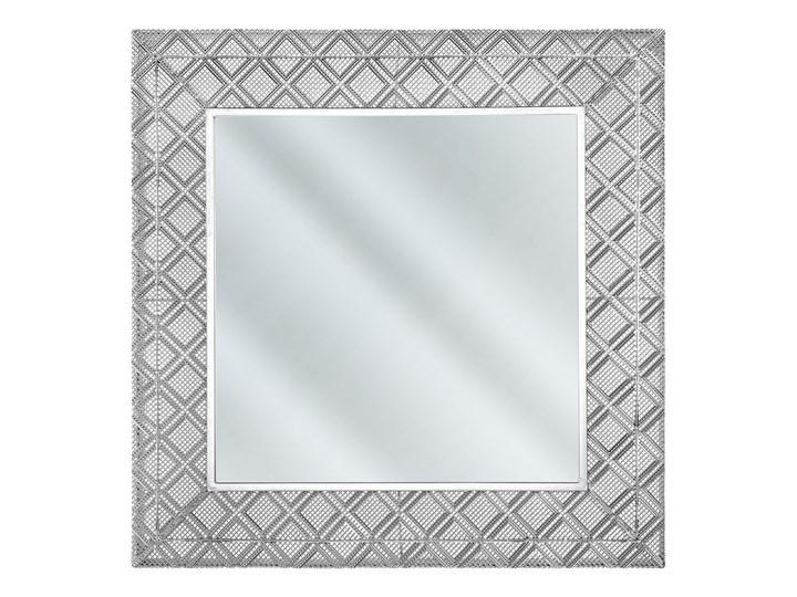Lustro wiszące dekoracyjne kwadratowe srebrne 80 x 80 cm orientalna rama w romby Lustro z ramą Ścienne Kolor Srebrny