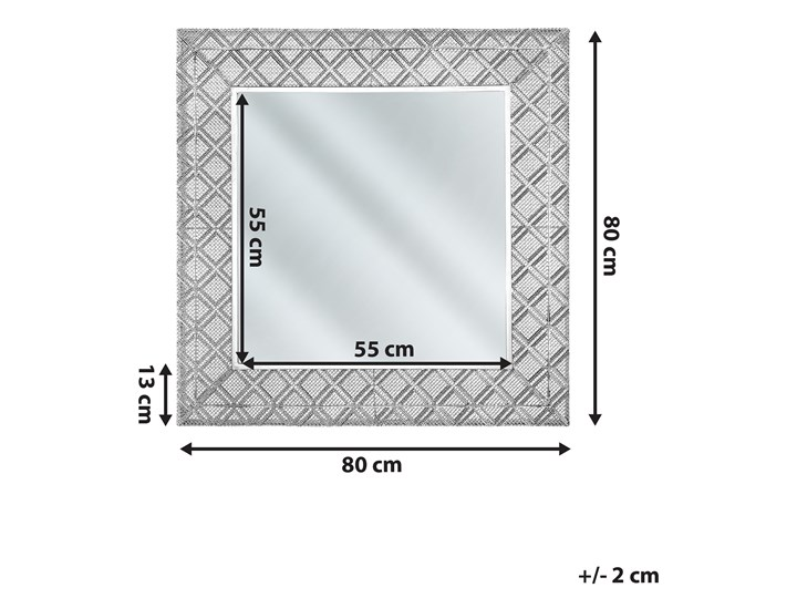 Lustro wiszące dekoracyjne kwadratowe srebrne 80 x 80 cm orientalna rama w romby Ścienne Pomieszczenie Sypialnia Lustro z ramą Styl Klasyczny