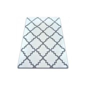 """Dywan biały wzor szary  koniczyna marokańska  wybierz rozmiar""""TRELLIS BASIC """"    80x150cm"""