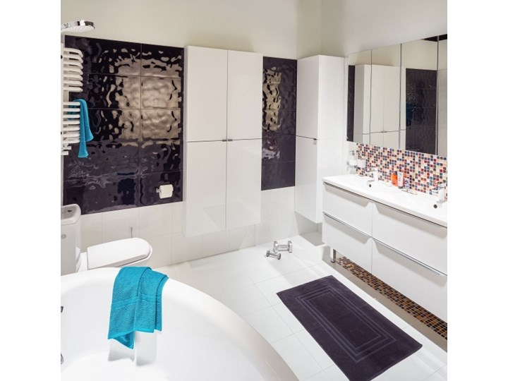Dywanik łazienkowy Palmi bawełniany 60 x 90 cm czarny Prostokątny Bawełna 60x90 cm Kategoria Dywaniki łazienkowe
