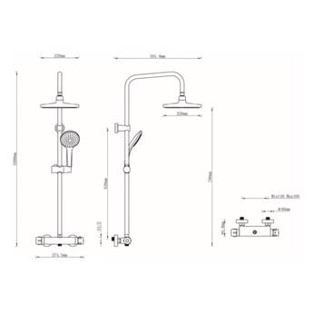 Kolumna prysznicowa GoodHome Lidia śr. 20 cm 1-funkcyjna z baterią termostatyczną