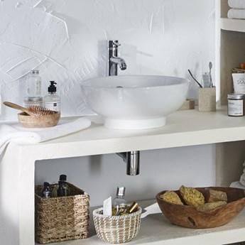 Umywalka nablatowa ceramiczna GoodHome Nura śr. 40 cm biała