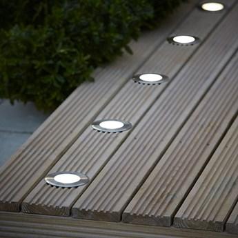 Oświetlenie tarasowe LED Blooma Brockton okrągłe 300 lm 4000 K stalowe