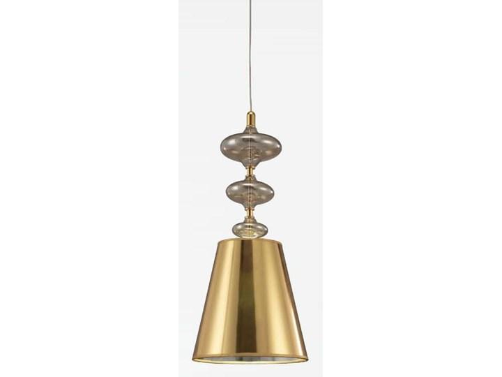 NOWOCZESNA LAMPA WISZĄCA ZŁOTA VENEZIANA W1 Metal Szkło Tkanina Ilość źródeł światła 1 źródło Lampa z kloszem Kolor Złoty