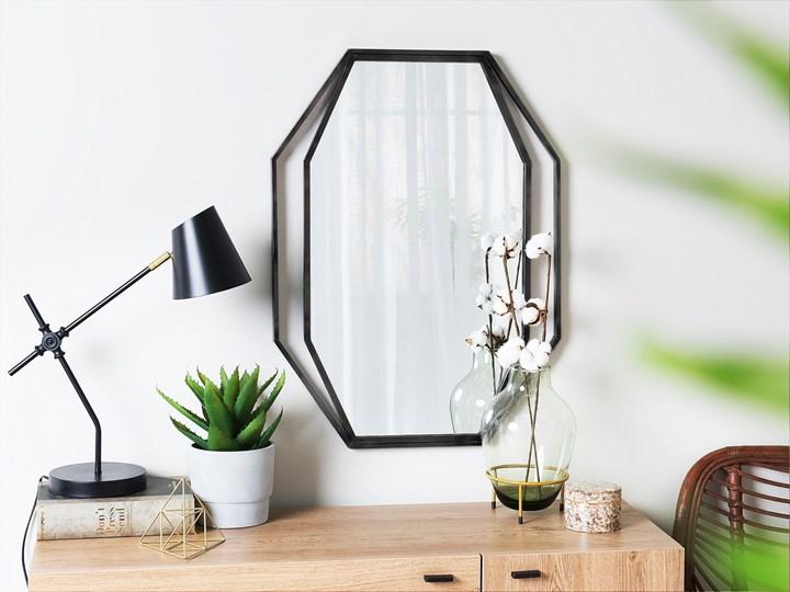 Lustro ścienne wiszące ośmiokątne szare metalowe 80 x 60 cm styl nowoczesny minimalistyczny Pomieszczenie Salon Styl Klasyczny