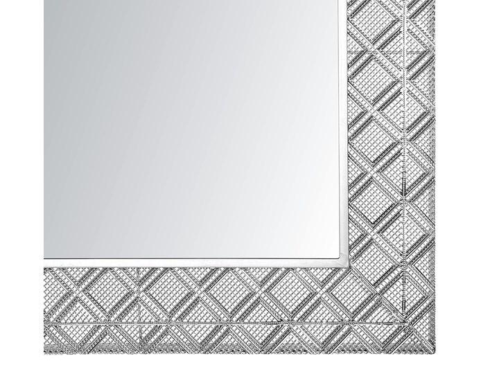 Lustro wiszące dekoracyjne kwadratowe srebrne 80 x 80 cm orientalna rama w romby Lustro z ramą Ścienne Pomieszczenie Sypialnia