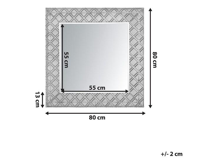 Lustro wiszące dekoracyjne kwadratowe srebrne 80 x 80 cm orientalna rama w romby Ścienne Lustro z ramą Kolor Srebrny