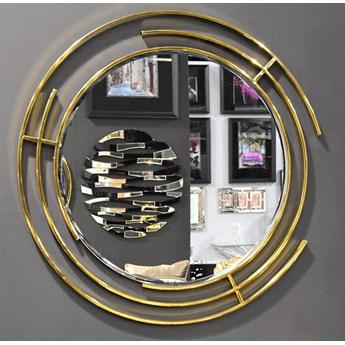 Nowoczesne lustro w złotej stalowej ramie Ø 90 cm LW6856