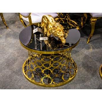 Czarny stolik kawowy z dekoracyjną złotą podstawą C404