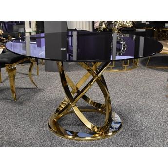 Stół z czarnym blatem i złotą podstawą Ø 130 cm TH533
