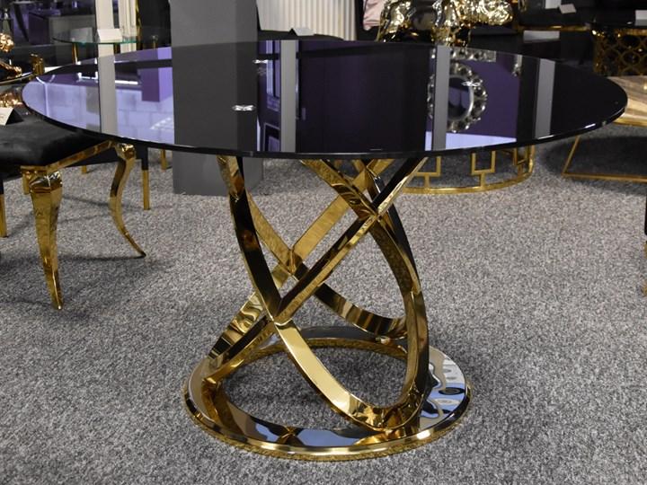 Stół z czarnym blatem i złotą podstawą Ø 130 cm TH533 Stal Szkło Kategoria Stoły kuchenne