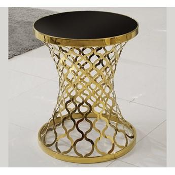 Czarny stolik kawowy z orientalną złotą podstawą D404