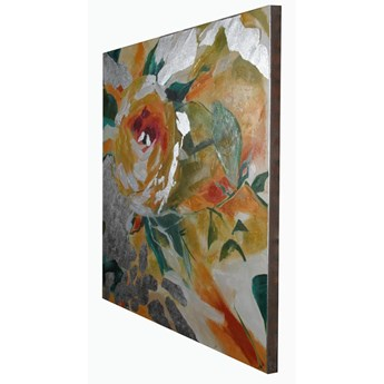 Nowoczesny obraz kwiaty na srebrzystym płótnie 120 x 120 x 5 cm JWE0743