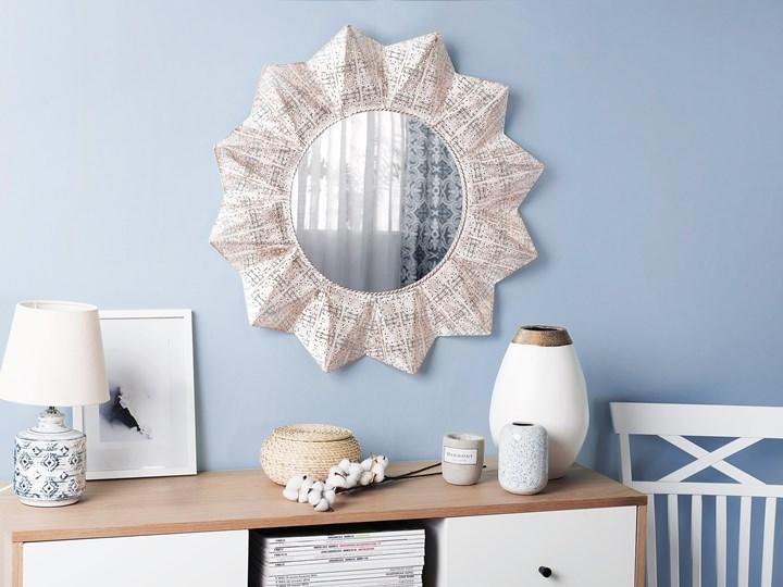 Lustro ścienne wiszące biało-miedziane 72 cm geometryczne słońce gwiazda Styl Nowoczesny Lustro z ramą Okrągłe Styl Vintage