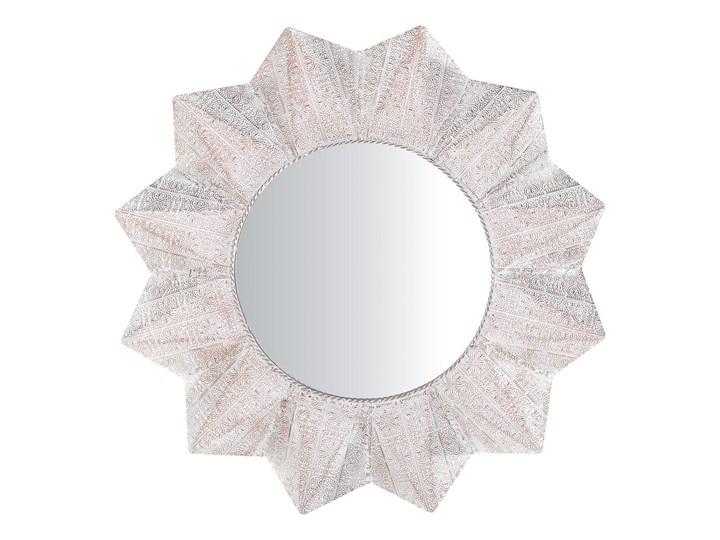 Lustro ścienne wiszące biało-miedziane 72 cm geometryczne słońce gwiazda Kolor Biały Lustro z ramą Okrągłe Pomieszczenie Salon
