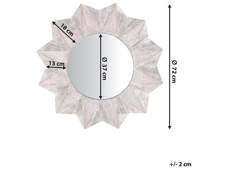 Lustro ścienne wiszące biało-miedziane 72 cm geometryczne słońce gwiazda Styl Nowoczesny Lustro z ramą Okrągłe Kolor Miedziany