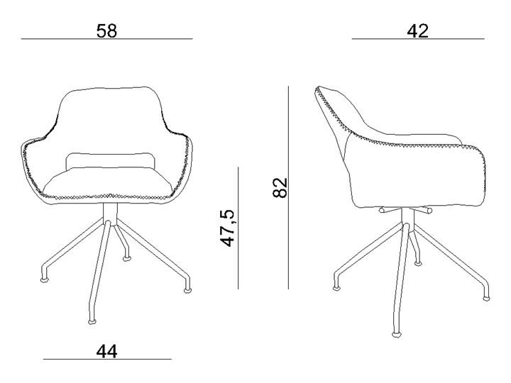 Obrotowe krzesło z podłokietnikami Talia Głębokość 42 cm Wysokość 82 cm Szerokość 58 cm Kategoria Krzesła kuchenne Kolor Szary