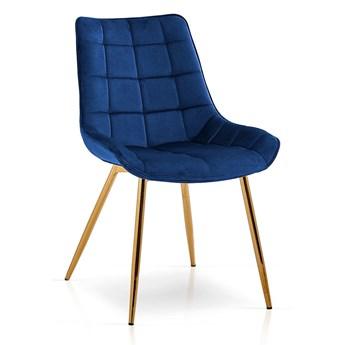 Krzesło KR niebieski aksamit/ noga złota