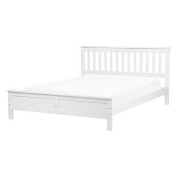 Łóżko ze stelażem białe drewniana rama 140 x 200 cm niskie wezgłowie minimalistyczny design