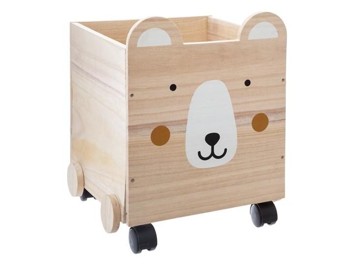 Pojemnik drewniany BEAR na kółkach, mobilne pudło, 30x28x38 cm