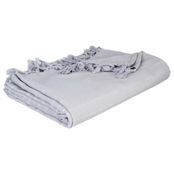Narzuta na łóżko bawełniana z frędzlami w kolorze szarym, ozdobna kapa na meble i koc w jednym