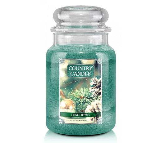 Country Candle - Tinsel Thyme - Duży słoik (680g) 2 knoty