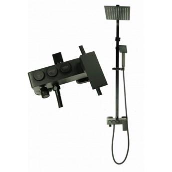 MAXO Zestaw natryskowy z baterią deszczownica ultra slim CZARNA