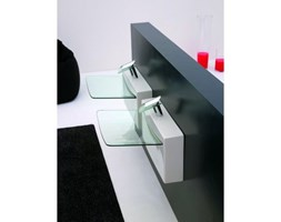 Artceram One Shot Umywalka CRYSTALL WALL - biała ze szklaną misą - WLL004. Wysyłamy ZA DARMO od 1999zł.