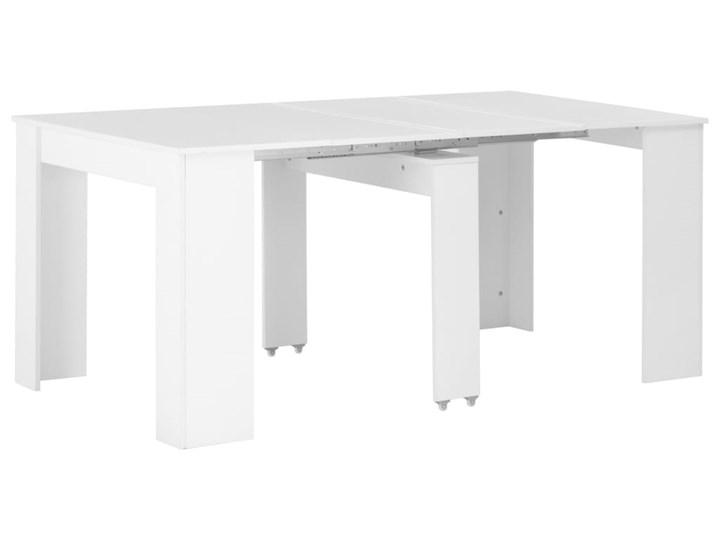 vidaXL Rozkładany stół jadalniany, wysoki połysk, biały, 175x90x75 cm Stal Płyta MDF Płyta MDF Płyta MDF Styl Rustykalny