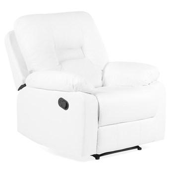 Rozkładany fotel telewizyjny biały z funkcją relaks ekoskóra salon duży pokój