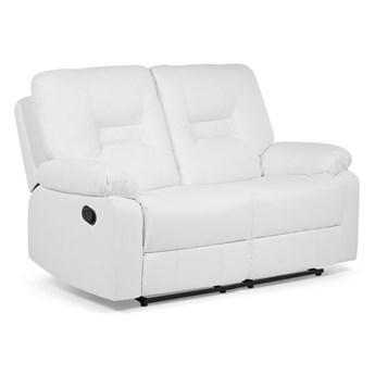 Sofa 2-osobowa biała z funkcją relaks rozkładana ekoskóra salon duży pokój