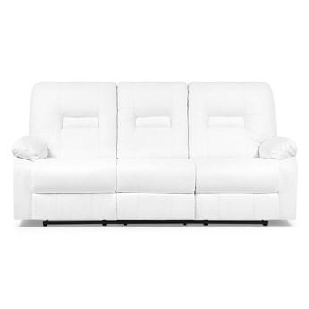 Sofa 3-osobowa biała z funkcją relaks rozkładana ekoskóra salon duży pokój