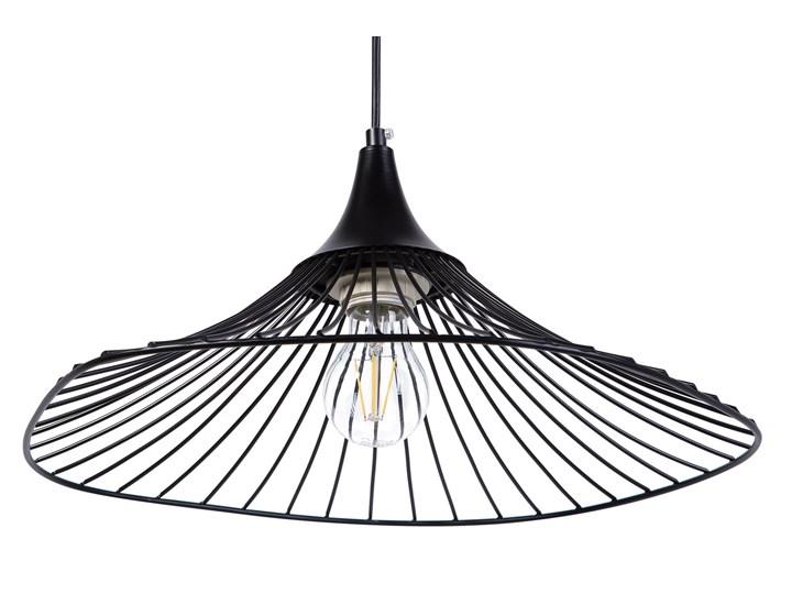 Lampa sufitowa wisząca czarna metalowy klosz industrialny design sypialnia kuchnia Lampa z kloszem Lampa druciana Kolor Czarny Kategoria Lampy wiszące