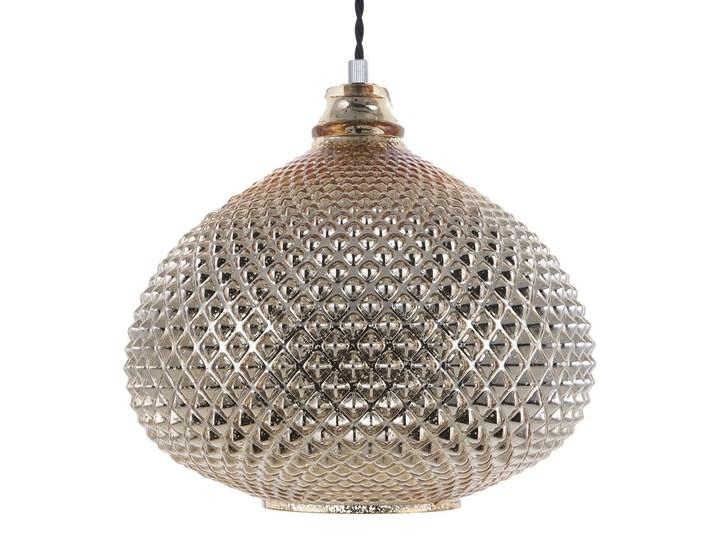 Lampa sufitowa złota 88 cm szklany klosz wysoki połysk glamour Stal Lampa inspirowana Metal Lampa z kloszem Szkło Kategoria Lampy wiszące