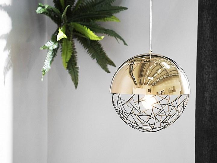 Lampa sufitowa złota metalowa 124 cm ażurowa czarna osłona wysoki połysk glamour Lampa z kloszem Lampa druciana Kategoria Lampy wiszące