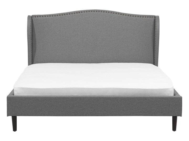 Łóżko ze stelażem tapicerowane szare 160 x 200 cm z zagłówkiem styl glamour Łóżko tapicerowane Kategoria Łóżka do sypialni Kolor Czarny