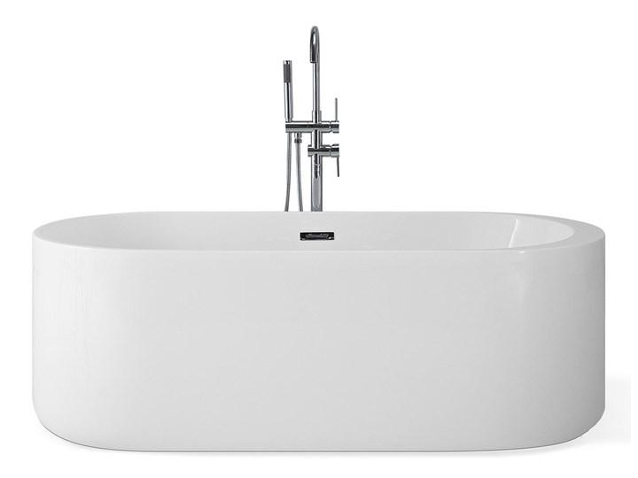 Wanna wolnostojąca biała akrylowa 170 x 80 cm system przelewowy owalna współczesna Długość 170 cm Wolnostojące Kolor Biały Kategoria Wanny