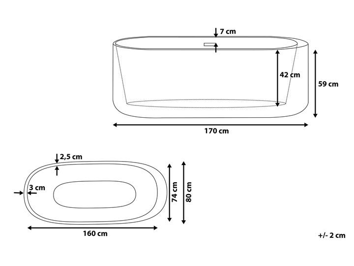 Wanna wolnostojąca biała akrylowa 170 x 80 cm system przelewowy owalna współczesna Kolor Biały Długość 170 cm Wolnostojące Kategoria Wanny