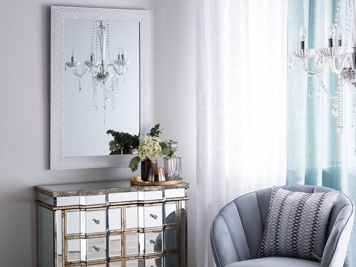 Lustro ścienne wiszące srebrne 61 x 91 cm łazienka sypialnia toaletka Styl Klasyczny Prostokątne Styl Nowoczesny