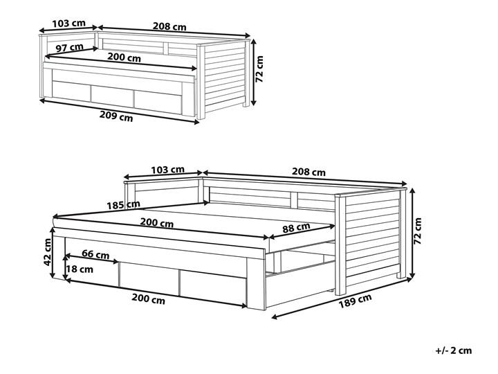 Łóżko brązowe drewniane 90/180 x 200 cm ze stelażem wysuwane dodatkowe łóżko 3 szuflady skandynawskie Drewno Liczba miejsc Jednoosobowe Kolor Brązowy
