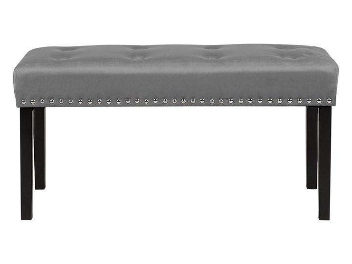 Ławka tapicerowana szara welurowa pikowana z ozdbonymi ćwiekami do sypialni Materiał obicia Tkanina