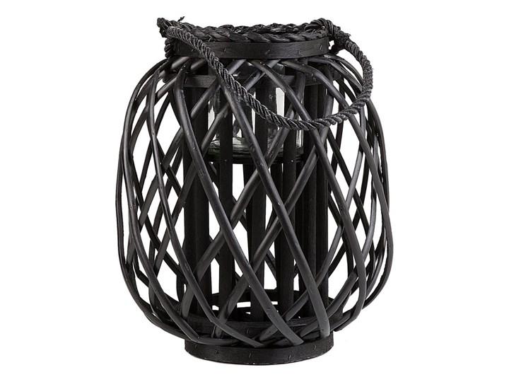Lampion dekoracyjny czarny drewniany 30 cm ozdobna latarnia na świecę Szkło Drewno Kategoria Świeczniki i świece