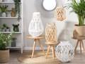 Lampion dekoracyjny jasne drewno 40 cm ozdoba latarenka na świeczkę MAURITIUS Szkło Kategoria Świeczniki i świece Kolor Beżowy