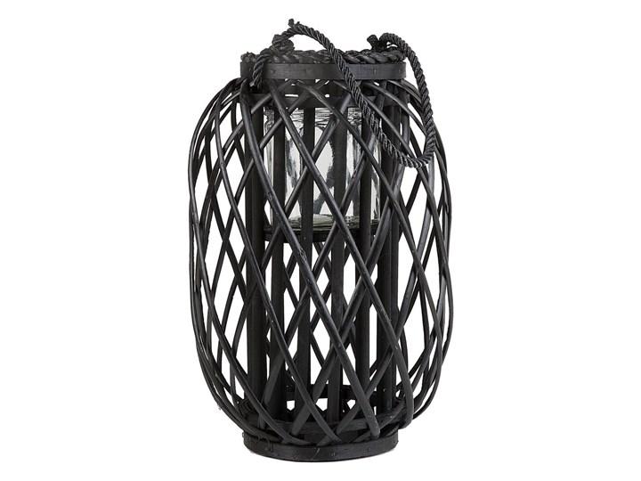Lampion dekoracyjny czarny drewniany 40 cm ozdoba latarenka na świeczkę MAURITIUS Drewno Szkło Kategoria Świeczniki i świece